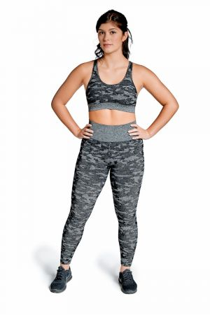 King Lifestyle Ladies Black Camo Seamless Legging