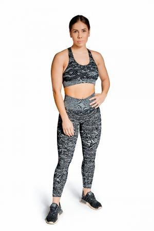 King Lifestyle Ladies Black Camo Scoop Neck Support Bra